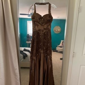 Bronze beaded satin halter formal prom gown